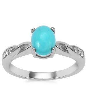 Sleeping Beauty Turquoise Ring with White Topaz in Sterling Silver 1.16cts