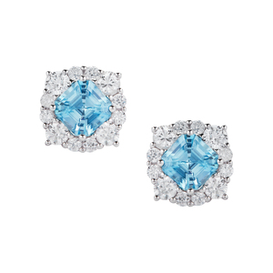 Ratanakiri Blue Zircon Earrings with White Zircon in Sterling Silver 4.91cts