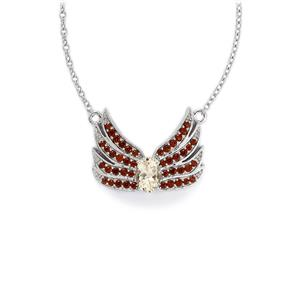 Goshenite Necklace with Red Garnet in Sterling Silver 1.34cts