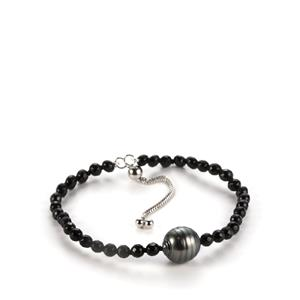 Tahitian Cultured Pearl Slider Bracelet with Black Agate in Sterling Silver (11mm)