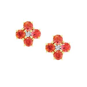 Cruzeiro Rubellite Earrings with Diamond in 10k Gold 0.86ct