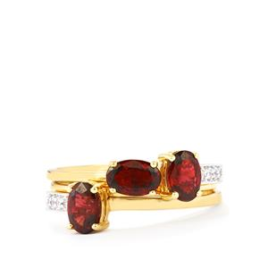 Burmese Red Spinel Set of 3 Stacker Rings with White Zircon in 9K Gold 1.64cts