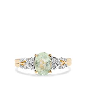 Paraiba Tourmaline Ring with Diamond in 18K Gold 1.25cts