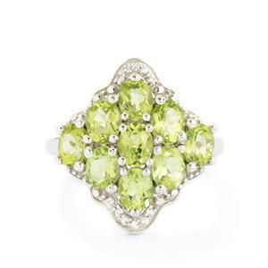 Changbai Peridot & White Topaz Sterling Silver Ring ATGW 3.55cts