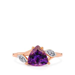Moroccan Amethyst & White Zircon 9K Rose Gold Ring ATGW 1.67cts