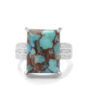 Egyptian Turquoise & White Zircon Sterling Silver Ring ATGW 10.34cts