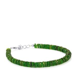 52ct Chrome Diopside Sterling Silver Graduated Bead Bracelet