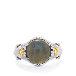 Labradorite, Rhodolite Garnet & White Zircon Sterling Silver Ring ATGW 5.90cts