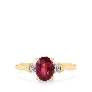 Malawi Garnet Ring with Diamond in 10k Gold 1.40cts