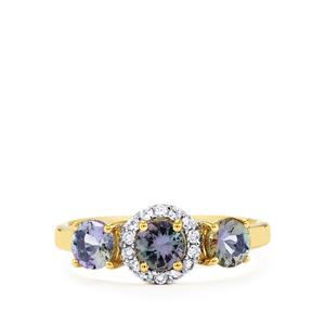 Bi-Color Tanzanite Ring with White Zircon in 10k Gold 1.32cts