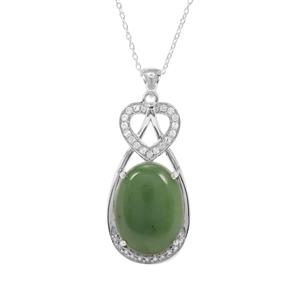 Genuine Jade Necklace with White Topaz in Sterling Silver 16.37cts