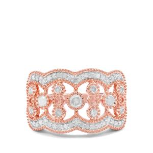 Diamond Ring in Rose Gold Plated Sterling Silver 0.57ct