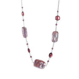 Baroque, Kaori Cultured Pearl Necklace with Rajasthan Garnet in Sterling Silver