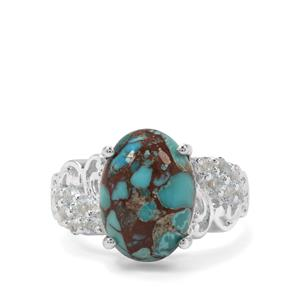 Egyptian Turquoise & Sky Blue Topaz Sterling Silver Ring ATGW 6.47cts
