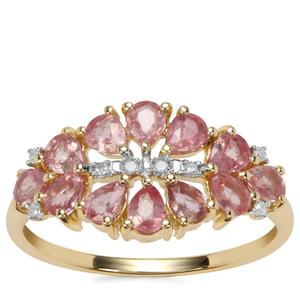 Padparadscha Sapphire Ring with Diamond in 10K Gold 1.55cts