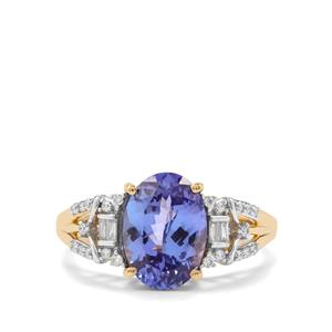 AAA Tanzanite Ring with Diamond in 18K Gold 3.05cts