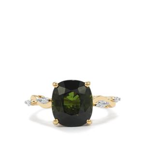 Green Tourmaline Ring with Diamond in 18K Gold 5.97cts