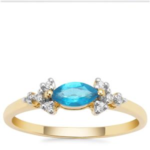 Neon Apatite Ring with White Zircon in 9K Gold 0.44ct