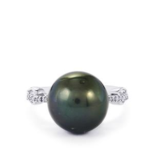 Tahitian Cultured Pearl Ring with Diamond in 9K White Gold