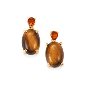 Tiger's Eye & Madeira Citrine Gold Vermeil Earrings ATGW 13.68cts