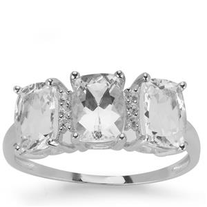 Danburite Ring with White Zircon in 9K White Gold 2.21cts