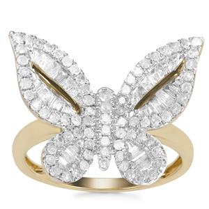 Diamond Butterfly Design Ring in 9K Gold 1.14ct