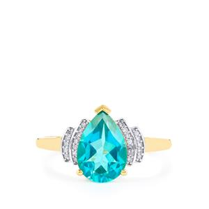 Batalha Topaz Ring with Diamond in 9K Gold 2.24cts