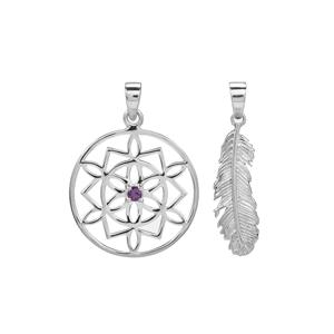Moroccan Amethyst Set of Two Pendant in Sterling Silver 0.10ct