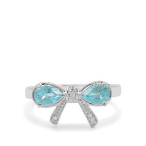 Madagascan Blue Apatite & White Zircon Sterling Silver Ring ATGW 1.03cts