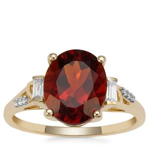 Madeira Citrine Ring with White Zircon in 9K Gold 3.22cts
