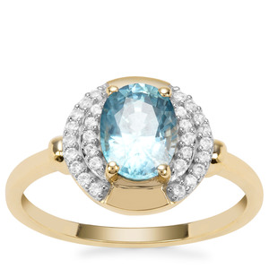 Ratanakiri Blue Zircon Ring with White Zircon in 9K Gold 2.12cts