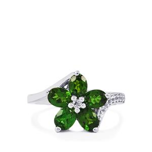 Chrome Diopside & White Topaz Sterling Silver Ring ATGW 1.95cts
