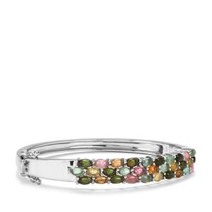 Rainbow Tourmaline Oval Bangle in Sterling Silver 8.37cts