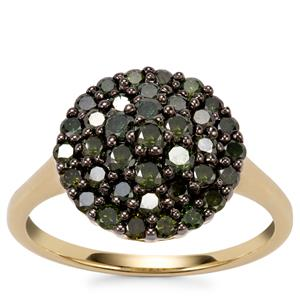 Green Diamond Ring in 10k Gold 1ct