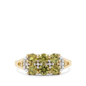 Ambanja Demantoid Garnet Ring with Diamond in 10k Gold 1.51cts