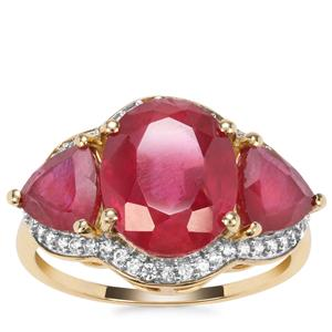 Malagasy Ruby Ring with White Zircon in 10K Gold 7.64cts (F)
