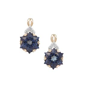 Wobito Snowflake Cut Blue Passion Topaz Earrings with Diamond in 9K Gold 5.70cts