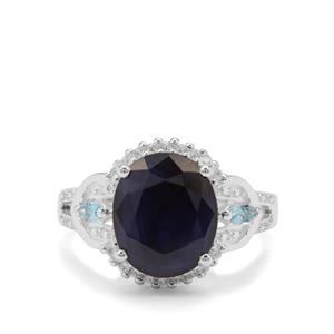 Madagascan Blue Sapphire, Swiss Blue Topaz Ring with White Zircon in Sterling Silver 6.28cts