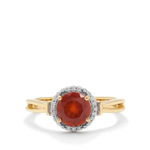 Gooseberry Grossular Garnet Ring with White Zircon in Gold Plated Sterling Silver 1.57cts