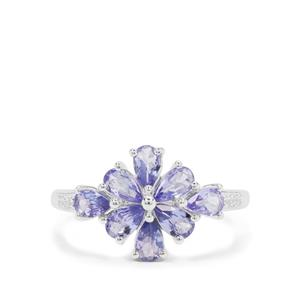 Tanzanite Ring with White Zircon in Sterling Silver 1.40cts