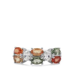 Songea Rainbow Sapphire & White Zircon Sterling Silver Ring ATGW 2.44cts