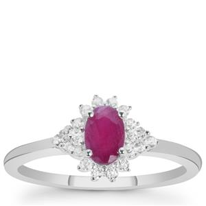 Luc Yen Ruby Ring with White Zircon in Sterling Silver 1cts
