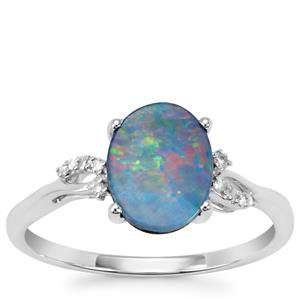 Crystal Opal on Ironstone Ring with Diamond in 10K White Gold