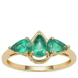 Kafubu Emerald Ring in 9K Gold 1.15cts