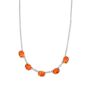 Padparadscha Quartz Necklace with White Topaz in Sterling Silver 8.40cts