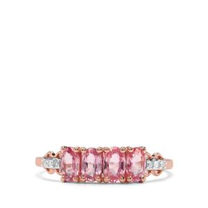 Sakaraha Pink Sapphire Ring with Diamond in 9K Rose Gold 1.14cts