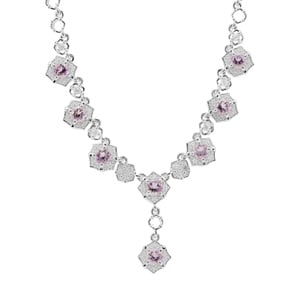 Rose du Maroc Amethyst Necklace with White Zircon in Sterling Silver 2.29cts