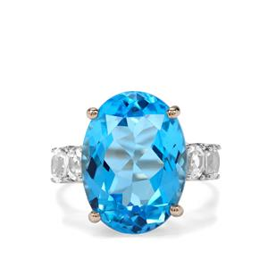 Swiss Blue Topaz & White Zircon 9K Gold Ring ATGW 12.79cts