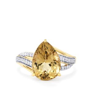 Scapolite Ring with Diamond in 18k Gold 5.18cts