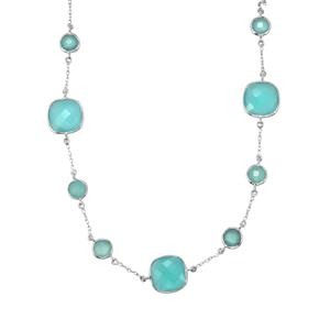 Aqua Chalcedony Necklace in Sterling Silver 41.59cts